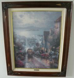 Thomas Kinkade Hyde Street And The Bay 24 X 30 Sn Canvas Framed Hand Signed