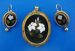 Victorian Piertra Dura 12k Yellow Gold Pendant And Earrings Set Circa 1900s