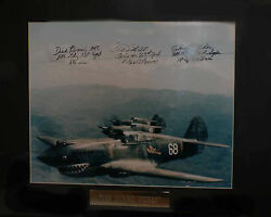 Flying Tigers Chuck Older Tex Hill Dick Rossi Autographed By 3 Ww2 Aces