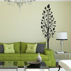 Tall Tree with Leaves Vinyl Wall Decal - for living dining kid's room + K626