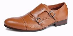 Fashion Mens Loafers Dress Shoes Double Monk Straps Brown Style In Italy