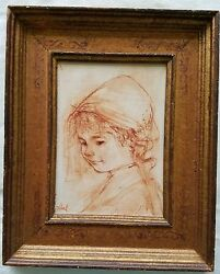 Untitled Portrait Of A Girl 1966 By Edna Hibel. Original Painting On Board.