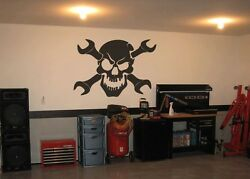 Black Skull And Cross Wrenches Tools Sticker Decal For Mechanic Shop Decor