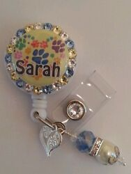Personalized Puppy Paws Card Reel/ Id Badge Holder For Nurses Teachers Etc..