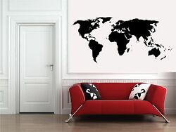 Black World Map Sticker Decal For Home Wall Decor Contemporary