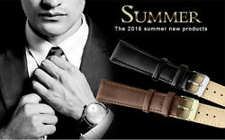 Leather Watch Band Wrist Mens Womens Kids Strap Steel Buckle 16mm 22mm $1.46