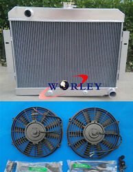 3 Core Aluminum Radiator And Fans For 1972-1986 Jeep Cj Gm Chevy Config Conversion