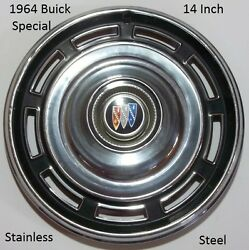 1964 Buick Special 14 Inch Stainless Steel Hub Cap O.e.m. Original Made In Usa D