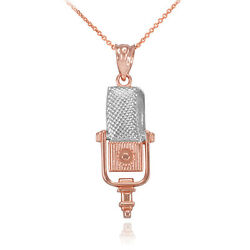 10k Two-tone Rose Gold Studio Mic Microphone Music Recording Pendant Necklace
