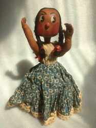 Antique Mexican American Indian Fabric-in-clay Doll 10 Tall