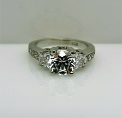 Stunning Solitaire With Accents 14k White Gold Size 6 Cz Center Stone Ring