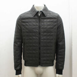 New Lanvin Grey Quilt Stitch Leather Jacket Genuine Rrp Andpound2980 Bnwt - Size 50