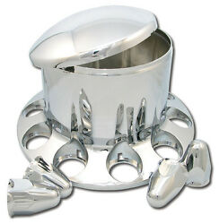 Chrome Plastic Abs Front Hub Cover W/ Removeable Hubcap 10 X 33mm W/ Nut Covers