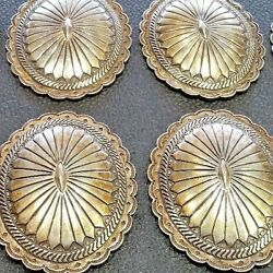 Vintage Heavy Old Pawn Hand Stamped Sterling Silver 8 Pcs Concho Belt Set