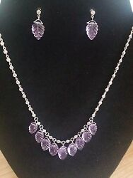 2.25 Tcw Diamond And Carved Amethyst Choker Necklace And Earring Set 14k White Gold
