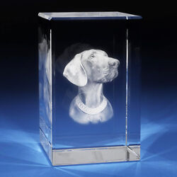 3D Laser Crystal Glass Etched Engrave Paperweight Stand Dog Animals Portrait M