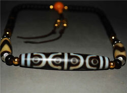 tibetan dzi bead agate 12 eyes cinnabar zig zag antique pure necklace 9 ancient