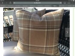"""Ralph Lauren Down pillow in Rich Camel and Ivory quot;Deerpath Trail"""" Plaid wool"""