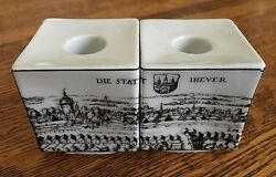 German Walled Town Candle Sticks Ceramic Taper Holder Travel Europe Jever