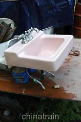 Vintage Mid-century Retro 1960s Pink Porcelain Bathroom Sink And Faucets 18x20