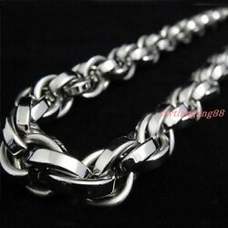 7-40stainless Steel Heavy Charming Mens Jewelry Silver 11mm Rope Chain Necklace