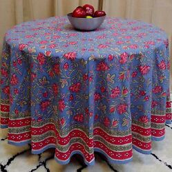 Handmade 100 Cotton Floral Tablecloth Round 90 Inches Blue Red Pink