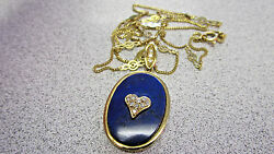 Estate Blue Lapis Lazuli And Diamond Necklace And Pendant 18k Gold Make Offer