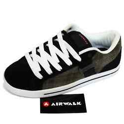 Ladies Black Leather Airwalk Lace-up Skater Trainers Casual Shoes Pumps Uk 6-9