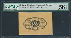 Fr1282spwmb 25andcent Fractional Specimen Note 1st Issue Pmg 58 Epq Choice Au Hw1790