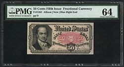 Fr1381 50andcent 5th Issue Fractional Blue Right End Pmg 64 Choice Unc Bt3402