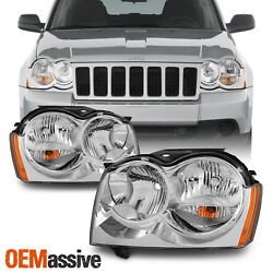 Fit 05-07 Jeep Grand Cherokee Amber Chrome Headlights Front Lamps Replacement