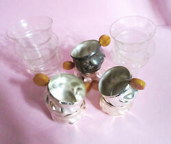 6 Teaglass Holder Silverplate Butterscotch Bakelit Handle With Glasses Rare