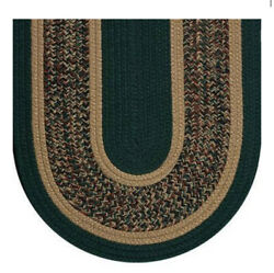 Hunter Green Camel Tweed Braided Area Rugs By Colonial Rug--many Sizes 116ex