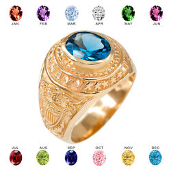Solid 14k Yellow Gold Us Navy Menand039s Cz Birthstone Ring