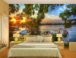 Summer Background Lake Boat Full Wall Mural Photo Wallpaper Print Home 3d Decal