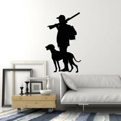Vinyl Wall Decal Silhouette Hunter With Dog Hunting Shop Club Stickers Ig5387