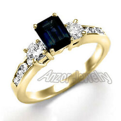 14k Solid Yellow Gold Dark Blue Sapphire And Diamond Engagement Ring R1509