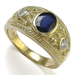 Men's 18k Yellow Gold Natural White And Blue Ceylon Sapphire Ring Size 6 To 14