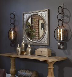 Pair Falconara 39 Aged Metal Mercury Glass Wall Sconce Candle Holder Uttermost