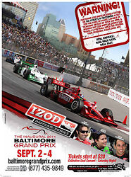 Baltimore Grand Prix Inaugural Promotional Poster, 2011 Indy Racing 19.25x26