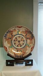 Pair Of 18and039and039 Antique / Rare Japanese Imari Chargers C. 1881