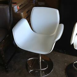 Frontgate Salerno Bar Height Stool White Leather Chair Modern 360 Swivel