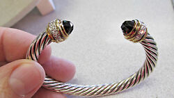 Authentic David Yurman 18k Gold And Sterling And Diamond And Garnet Cuff Bracelet
