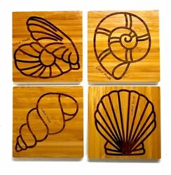Set Of 4 Seaside Bamboo Coasters Perfect For Gifts, Sustainable Materials