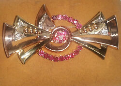 14K YELLOW & ROSE GOLD ANTIQUE RUBY & DIAMOND BROOCH  PIN - VINTAGE BEAUTY!