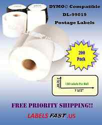 200 Rolls Adhesive Labeling 450 Twin Turbo Paypal Dymo® Compatible Labels 99019