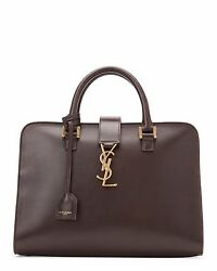 2,950 Ysl Saint Laurent Cabas Monogram Bag Large Size Brown New With Tags