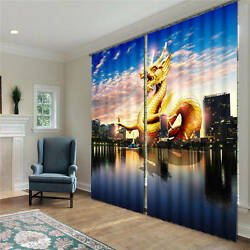 Dragon Flying In City 3d Blockout Photo Printing Curtains Draps Fabric Window