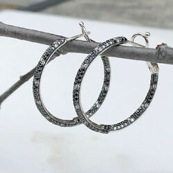 14kt White Gold Pave Black White Diamond Earring Hoop Earring In And Out 2 Ct New