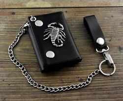 Menand039s Boys Gift Real Leather Biker Trifold Momey Wallet With Chain Scorpion